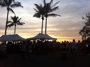 Stalls at Mindil Beach Markets
