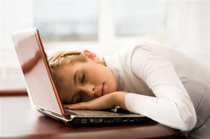 woman asleep on computer (Small)